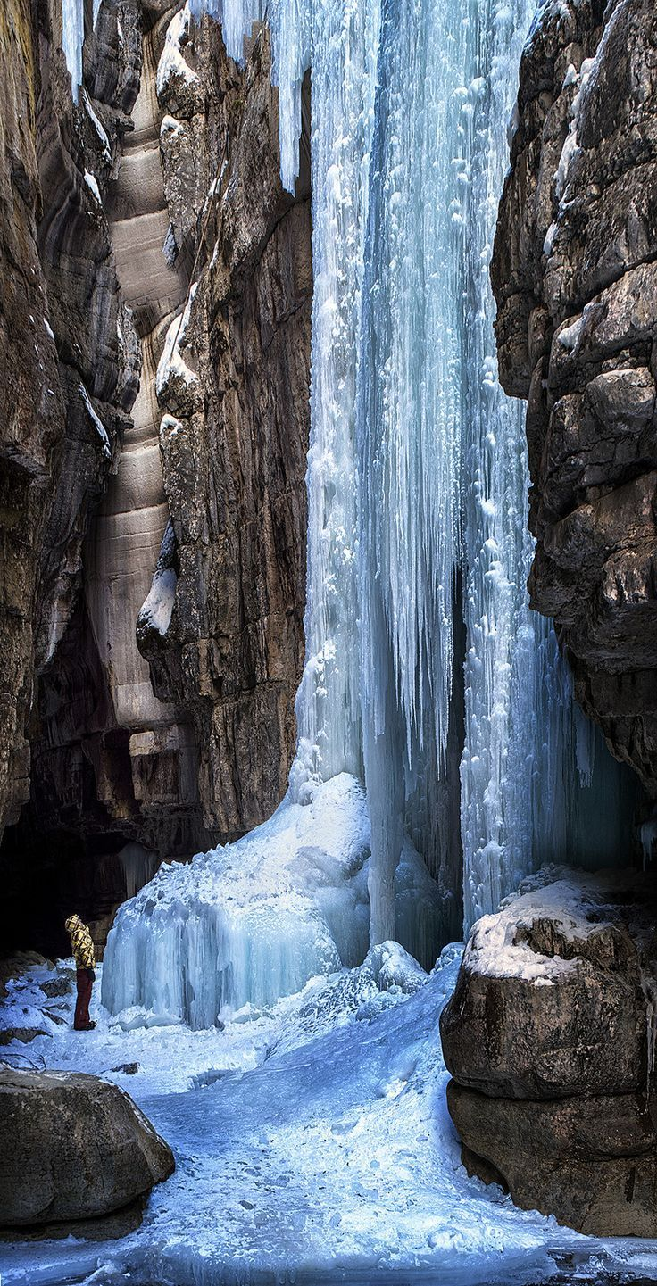 'Eye of the beholder' Jasper National Park, Maligne Canyon, Alberta, Canada   Frozen Waterfall   Maligne Canyon measures over 160 feet deep. In the summer months this Canyon is home to waterfalls and rushing currents but in the winter the frozen canyon floor becomes a magical world of unimaginable ice formations.