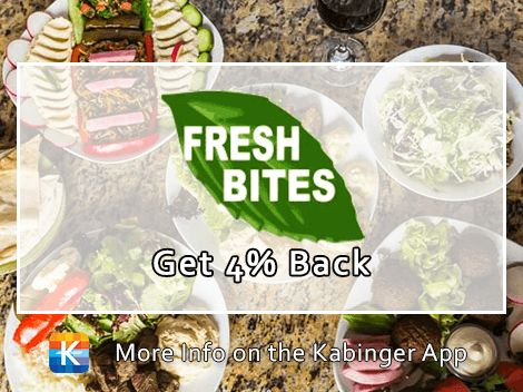 Enjoy 4% back on delicious, fresh, organic Lebanese meals @FreshBitesMediterranean. New on the @Kabinger app today!
