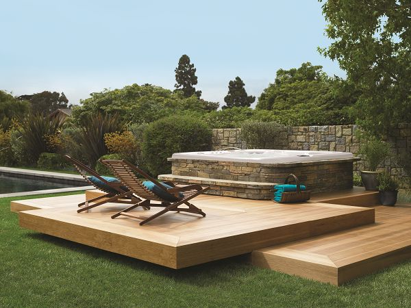 Love this geometric deck design with a floating upper deck for Outdoor floating deck