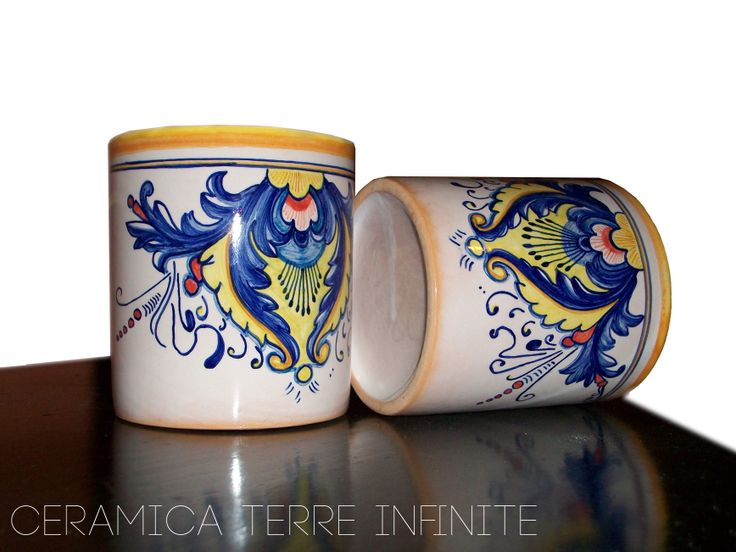 Tazze per la colazione in #ceramica fatte e decorate a mano. #Breakfast #cups #handmade