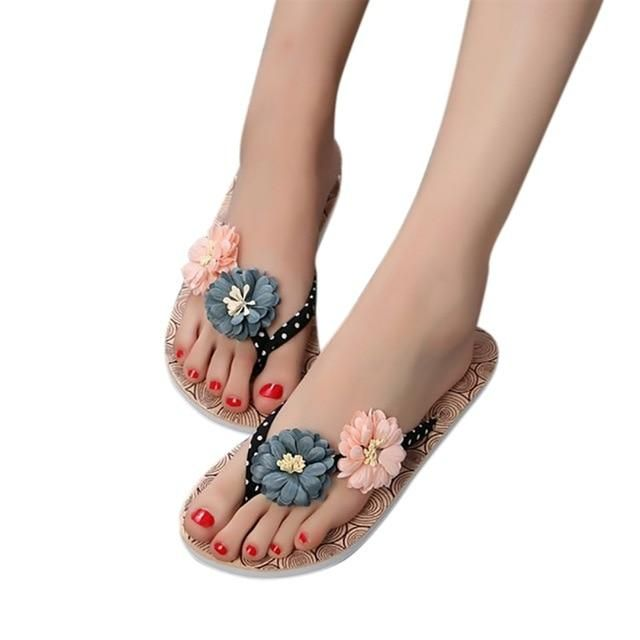 Woman shoes Summer Slippers Non-slip Wood Flowers Flat Slippers