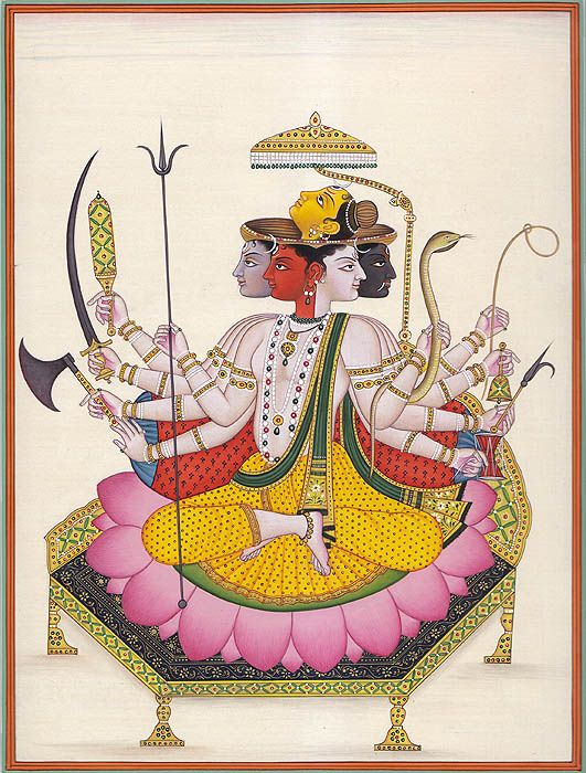 Sadashiva or Pancha-mukha Shiva by Kailash Raj.    Full desc: http://www.exoticindiaart.com/product/paintings/pancha-mukha-shiva-HL60/
