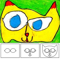 I can see first graders really excited about drawing this cat.