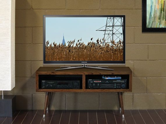 Mid Century Modern TV Stand  Mayan Double Bay by WoodwavesInc, $349.00