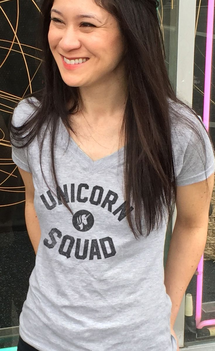 Women's Unicorn Squad V-Neck T-Shirt - Juniors Fit. Assorted colors; $25.00 from #Boredwalk, plus free U.S. shipping. Click to purchase!