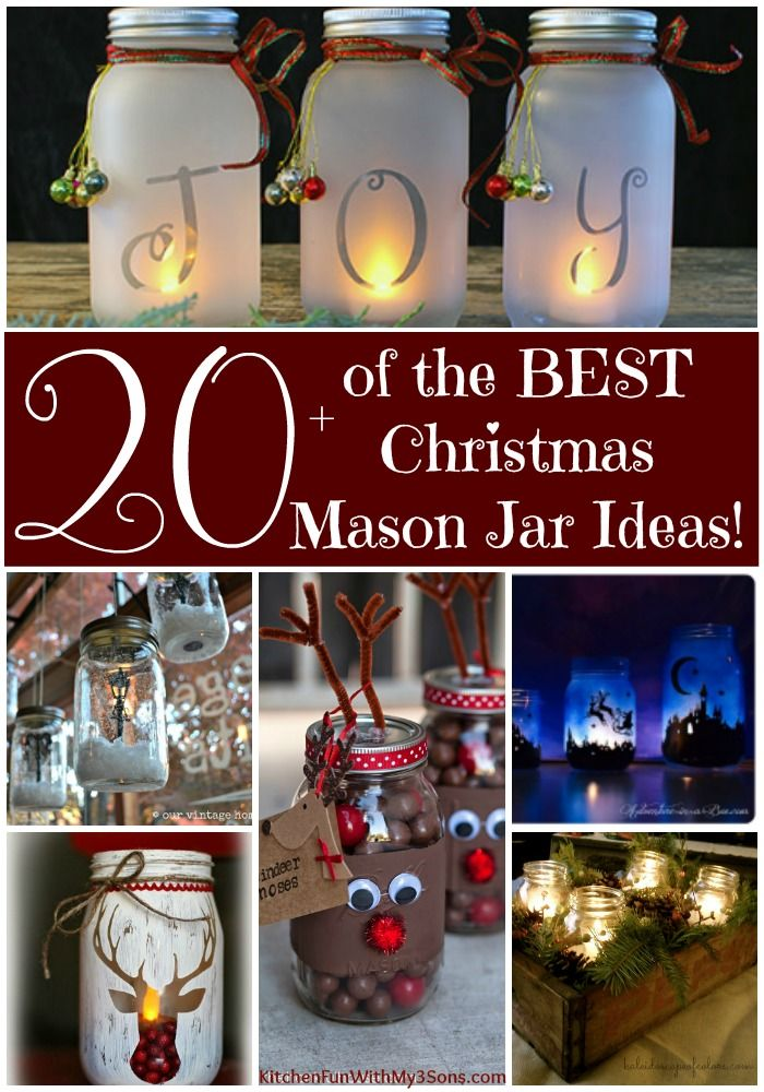 Over 20 of the BEST Christmas Mason Jar Ideas - these are so pretty and easy to make for the Holidays. Also lots of ideas for Christmas gifts!