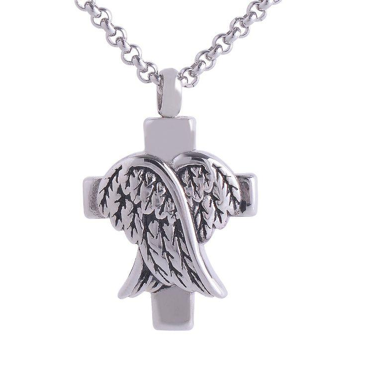 Cremation Screw Memorial pendant Cross And Angel Wings  Urn Necklace Locket Keepsake Jewelry