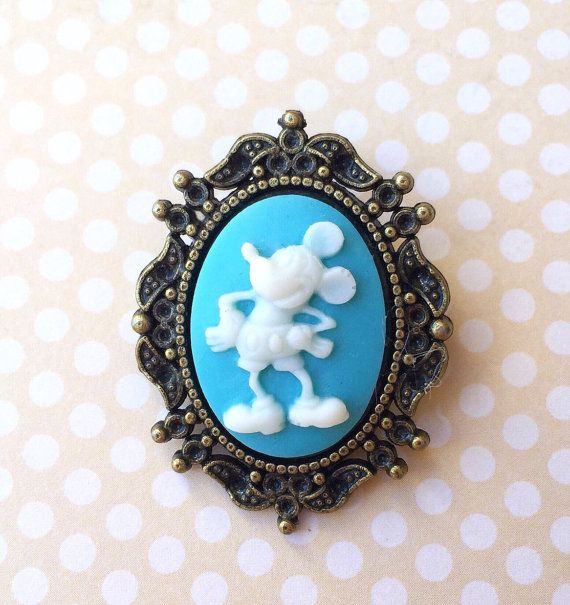 """Handmade """"Vintage Mickey"""" Light Blue Vintage Mickey Mouse Inspired Cameo Brooch with Bronze Setting"""