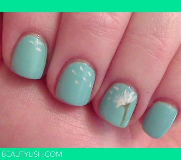 Dandelion | Chandra R.'s Photo | Beautylish: Nails Art, Cute Nails, Nails Design, Tiffany Blue, Cute Ideas, Happy Colors, Summer Nails, Nails Ideas, Dandelions Nails