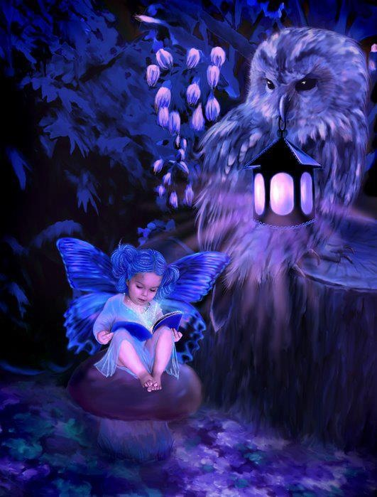 **a small child fairy reading a book, while an owl watches over her.