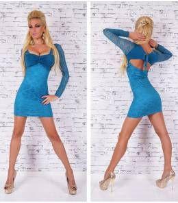 Sexy δαντελένιο μίνι φόρεμα πετρόλ