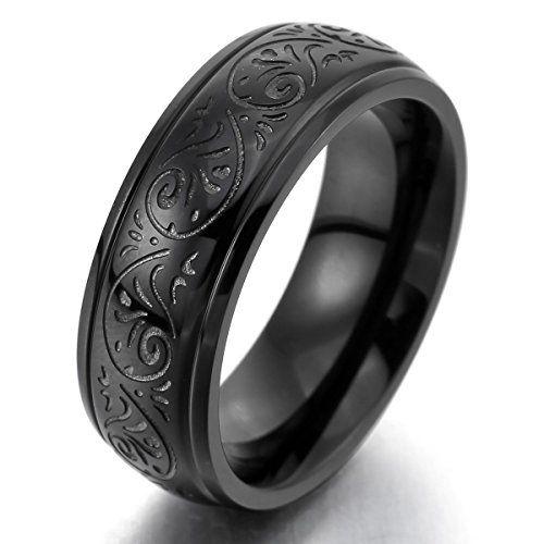 MunkiMix 7mm Edelstahl Ring Band Schwarz Gravierte Florentine Design- Charme Elegant Herren