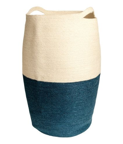 Nat.white/Dk.blue. Jute laundry basket with two handles. Diameter approx. 35 cm, height 65 cm. R399