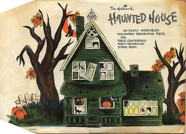 vintage paper haunted house by hallmark halloween decor - Hallmark Halloween Decorations