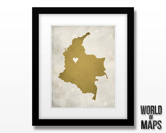Colombia Custom Map  Art Print 11x14 by WORLDofMAPS on Etsy