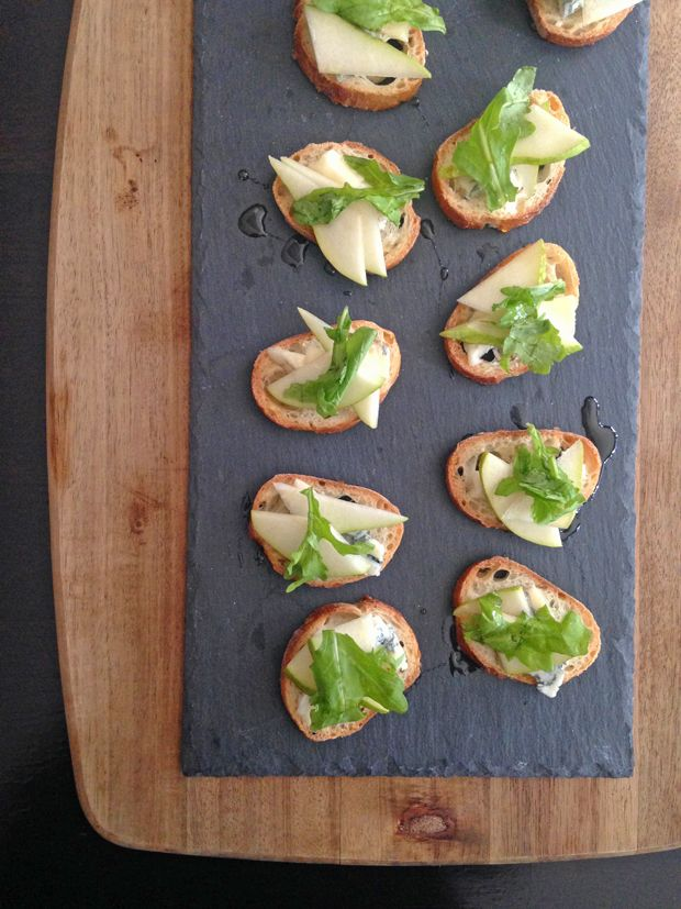 Fall crostini with pear, honey and gorgonzola - The tasty combination of perfectly firm-ripe pears, sweet honey and blue cheese is irresistible when served as crostini. Bonus: This recipe makes a great little nibble for any occasion.