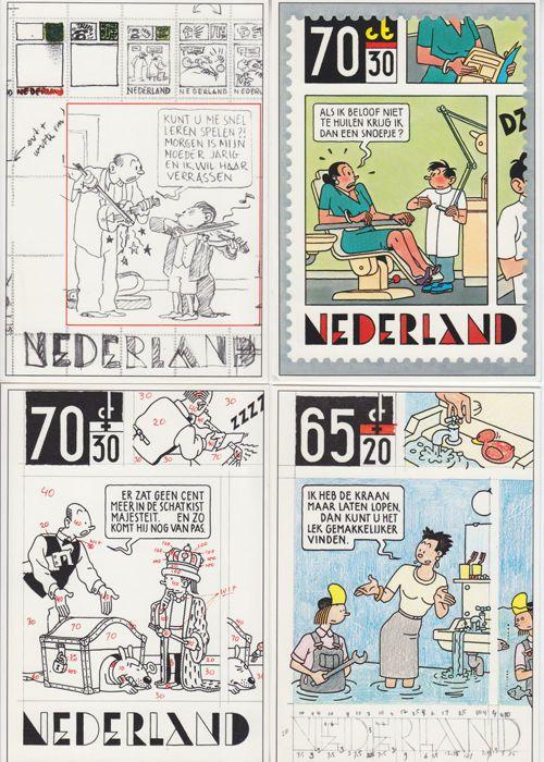 Swarte, Joost - 4 postzegel kaarten + 3 nieuwjaarskaarten - W.B.