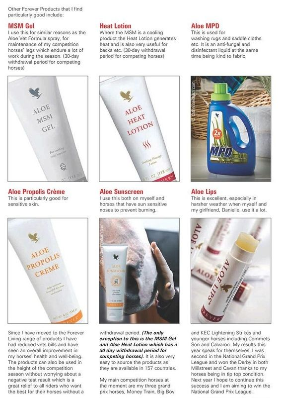 Horses - Testimonial on the use of our MSM Gel, Heat Lotion, MPD Liquid, Aloe Propolis Creme, Sunscreen, Aloe Lips - what a collection of helpful products. Buy them on my site here: http://www.linacostanza.myforever.biz/store