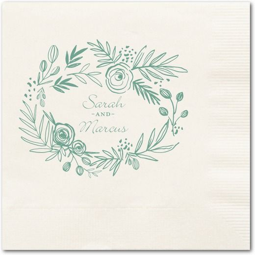 Delightfully Entwined - Personalized Wedding Napkins - Ali Makes Things - Ecru Napkin - Neutral : Front
