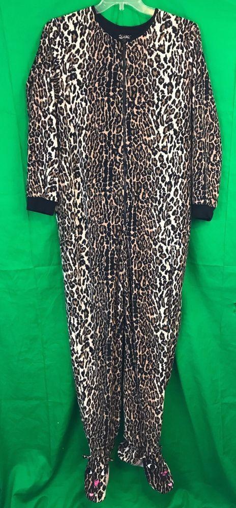Women's Nick And Nora Sleepwear Animal Print Footie Pajamas Size Large  | eBay