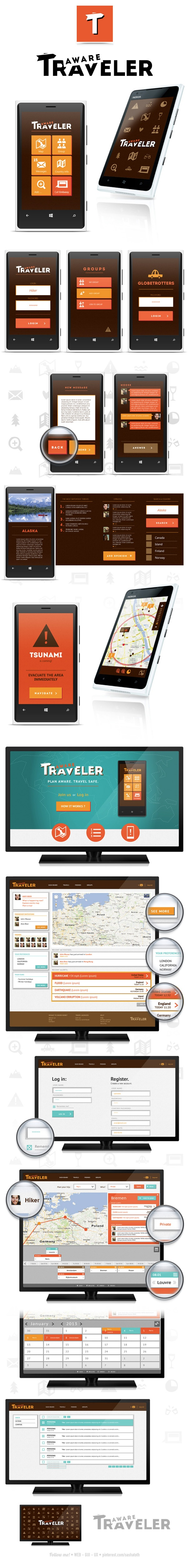 "Aware Traveler *** ""AwareTraveler is a system, which consists of a mobile phone application intended for people who travel individually or in a group of friends. Through all the features implemented it ensures the highest level of safety on every stage of your journey."" by Zuzanna Rogatty, via Behance *** #gui #windwosphone #travel"