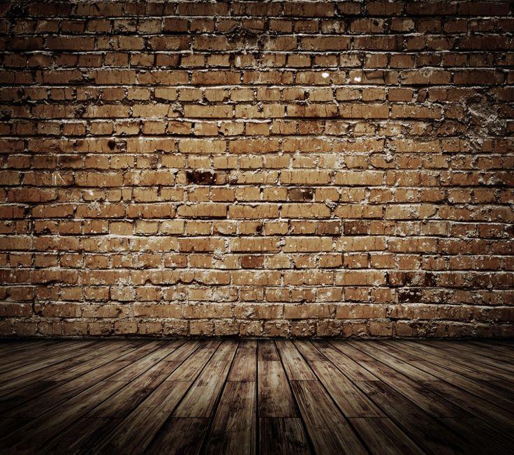 Brick wall wooden floor theme vinyl custom photography for 13 floor theme