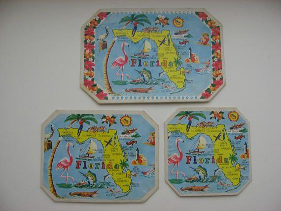 3 Old Florida Souvenir Trivets/Hot Pads//Collectible Vintage
