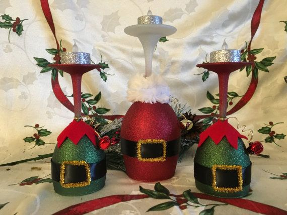 Painted Wine Glasses Wine Glass Candle Holder by LynnHDesigns