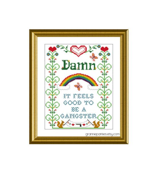 Dont be afraid to mix old and new with rap lyrics | 17 Cross Stitch Patterns For Your SassyHome