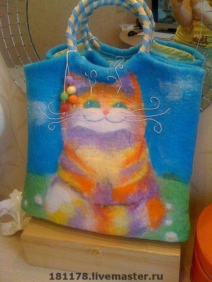"""Сумка """"Рыжий котяра"""" - сумка с котом,рыжий кот,позитив,голубое небо,голубой цвет Cheshire Cat bag"""