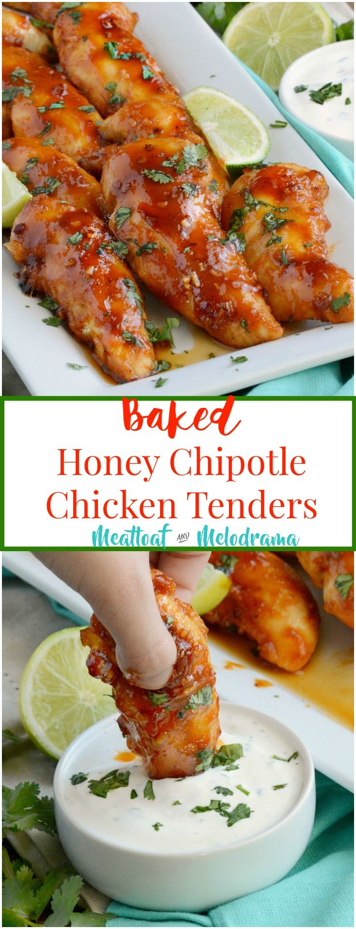 Baked Honey Chipotle Chicken Tenders - Healthier than fried, these spicy gluten-free appetizers take 20 minutes to make and are perfect for game day, parties or a quick and easy lunch or dinner! from Meatloaf and Melodrama