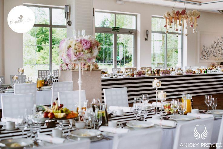 Glamour Wedding,Black&white,Table decor / Wesele galmour,Dekoracja stołów,Czarno-biały,Anioły Przyjęć