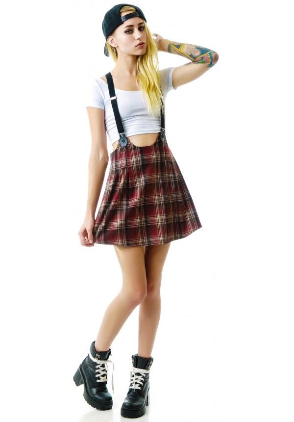 Red Plaid Unif Dropout Suspender Skirt Darby Punk