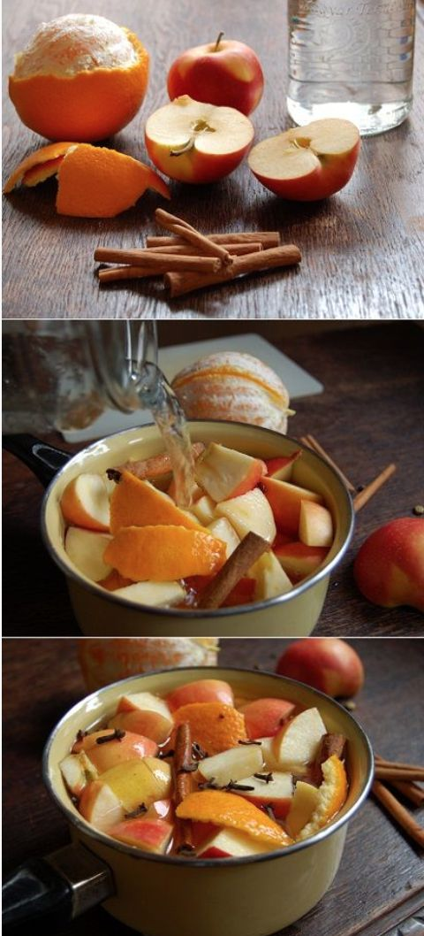 The Perfect, Homemade Fall Potpourri. Ingredients: The peel of 1 Orange, 1 cut apple, 1T cloves, 2 cinnamon sticks, 1T vanilla, 1T almond extract, 1.5C water. Directions: Mix all the ingredients together, simmer and enjoy!