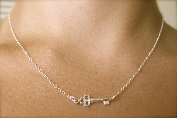 Tiny Skeleton Key Necklace by CabinNo7 on Etsy, #Tiffany&co #skeletonkey #jewelry