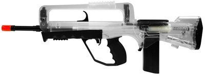 Famas Foreign Legion Spring Airsoft Rifle, Clear airsoft gun by CyberGun. $37.95. The Famas Foreign Legion Spring Airsoft Rifle, Clear is an awesome battlefield weapon that excels in powerful, high velocity shooting mayhem. Faithfully modeled after its real firearm counterpart, the FAMAS served as the standard assault rifle of the French armed forces. The gun features a BAXS System for increased power and shooting accuracy, a 45 Rd magazine, and a shot velocity of 370 fps (usin...