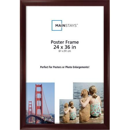 Only at Walmart $20.00  Mainstays Casual 24x36 Poster Frame, Walnut  FOR  Picturesque Cove Poster