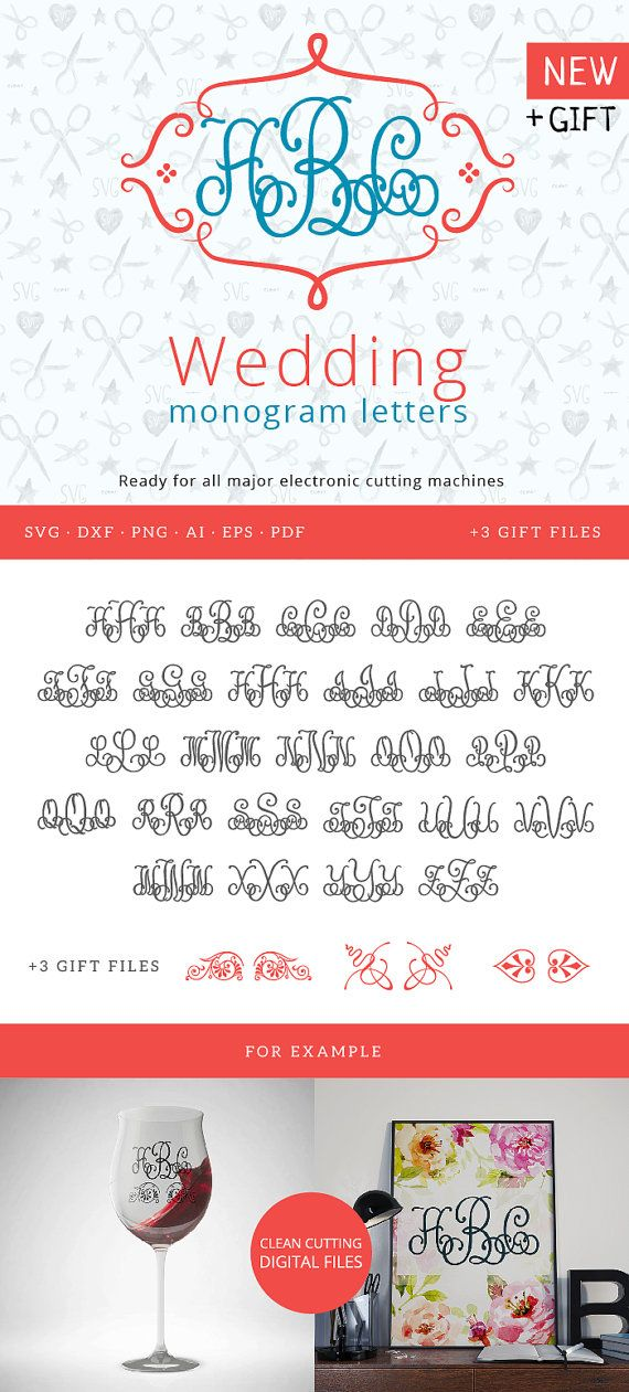 Wedding Monogram Font SVG  Invitation Monogram Alphabet Silhouette Flourish letters SVG Vector alphabet for cutting machines
