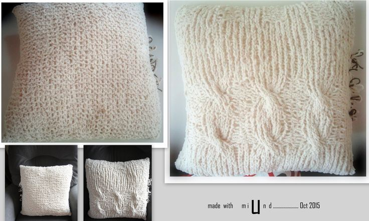 CHUNKY KNIT CUSHION COVER . Made Up Pattern using size10 knitting needles & chunkyish wool..