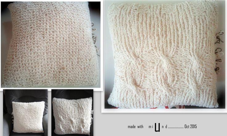CHUNKY KNIT CUSHION COVER . Made Up Pattern using size10 knitting needles & chunkyish wool..