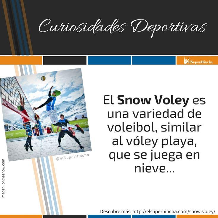 """El Snow Voley es una variedad de voleibol que sigue las reglas del Vóley Playa pero que se juega sobre nieve.  Surgió en Austria a finales de la década pasada y ya cuenta con un Tour Europeo con torneos en varios países.  Conocelo mejor en la sección """"Curiosidades Deportivas"""" de nuestra web (clic sobre el pin)"""