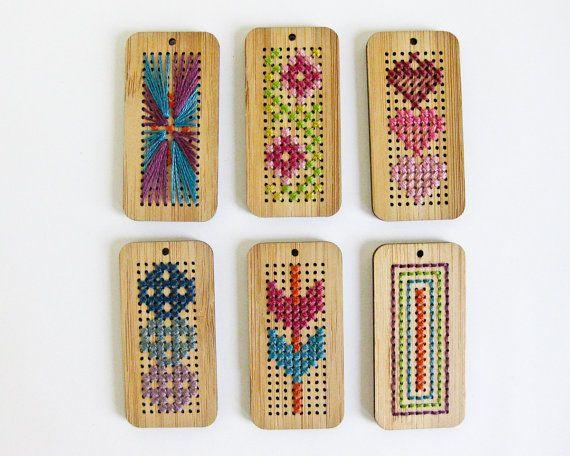 DIY Cross Stitch Pendant Blank  Bamboo by RedGateStitchery on Etsy, $12.00