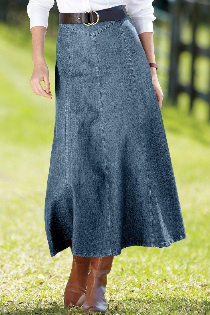 Long Denim Skirt Women's  - love the long skirt with the boots! - k. 10/8/13
