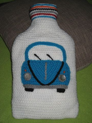 Hot Water Bottle VW Bug Beetle Crochet Cover Cosy von Millionbells, $49.99