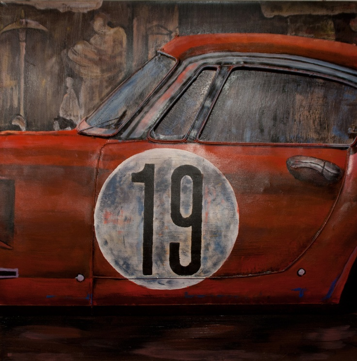 CUADRO FERRARI B. Acrílico sobre metal con carrocería del Ferrari en relieve. Junto con el cuadro FERRARI A y el cuadro FERRARI C conforman un cuadro fraccionado en 3. Medidas: 80 x 8,5 x 80 cm. Peso: 8,5 kgs.