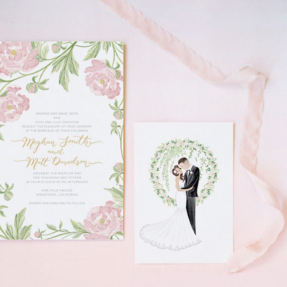 faire part de mariage jardin de rose pivoine - Faire Part Mariage Etsy