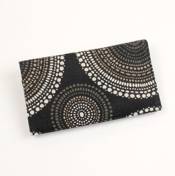 Black and Tan Fabric Checkbook Cover