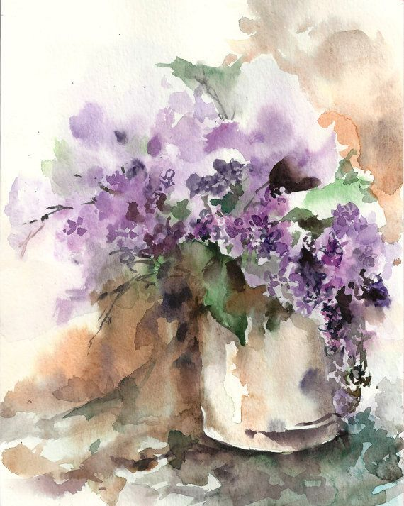 Lilac Flowers Still Life, Watercolor Painting Art Print, Purple Green, Watercolour Art, Modern Art