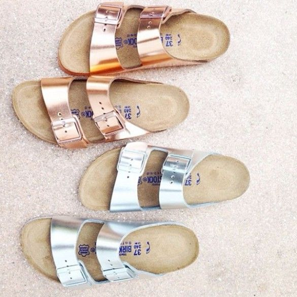 The ultimate summer sandal. And their metallic. What's not to love? // #Birkenstock