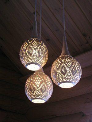 A handmade ceramic lampshade made by Savipaja Tuliaistupa in Finland